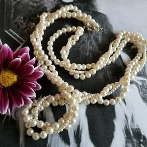 Vintage twisted three strand faux pearl necklace